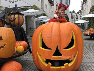 かぼちゃの上にのるかぼちゃの写真・画像素材[2578711]