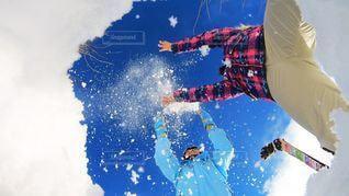 女性,子ども,家族,2人,冬,青空,雪山,楽しい,スキー,長野県,スノーボード,白馬
