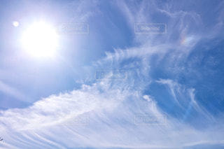 自然,空,屋外,太陽,雲,綺麗,晴れ,青空,青,虹,光,ハロ,彩雲,日中,幻日