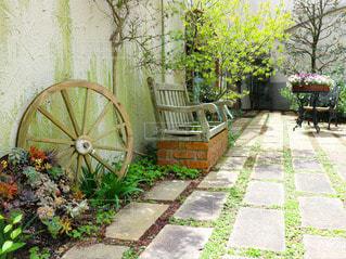 アンティークな雑貨と花の庭園の写真・画像素材[3030232]