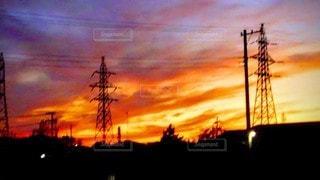 鉄塔と夕焼けの写真・画像素材[3431167]