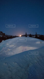 自然,風景,空,冬,夜,雪,屋外,山,月,月明かり
