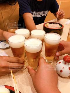 グラス,ビール,乾杯,海鮮丼,ドリンク,仲間