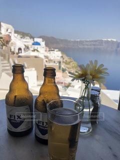 海,グラス,ビール,乾杯,ドリンク,サントリーニ