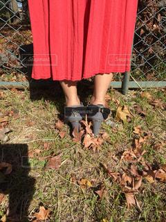 フェンスの前に立っている赤いドレスを着た人の写真・画像素材[2742104]