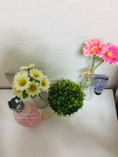 テーブルの上の花瓶の写真・画像素材[2761929]