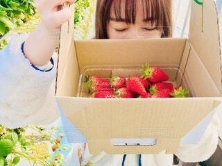 食べ物の箱を持っている女性の写真・画像素材[4194375]