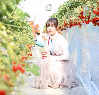 花を持つ小さな女の子の写真・画像素材[3172385]
