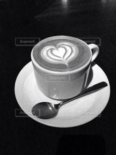 カフェ,コーヒー,ハート,モノトーン,カプチーノ