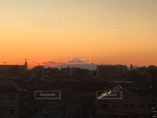 風景,空,建物,富士山,屋外,太陽,夕暮れ,山,光,都会,日の出,クラウド