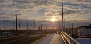 空,太陽,朝日,光,札幌市,手稲,線路側,発寒