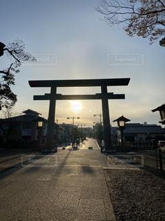 夕日,太陽,神社,鳥居,夕陽,神道,参道