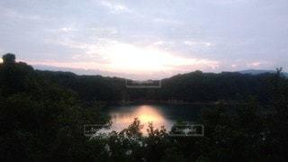 自然,風景,空,湖,太陽,森,水面,光,樹木,夕陽,夕景