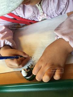 女の子,パンダ,書類,紙,模写,データ