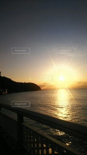 海,空,太陽,夕暮れ,光