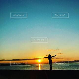 海,空,太陽,海岸,シルエット,光,日の出