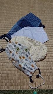 毛布の上に座っているバッグの写真・画像素材[3282984]