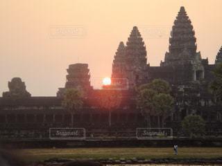 風景,空,建物,屋外,海外,太陽,世界遺産,光,旅行,遺跡,日の出,カンボジア,アンコールワット