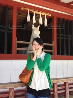 厳島神社にいる私の写真・画像素材[2792286]