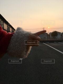夕日を指差しする子どもの手の写真・画像素材[2939820]