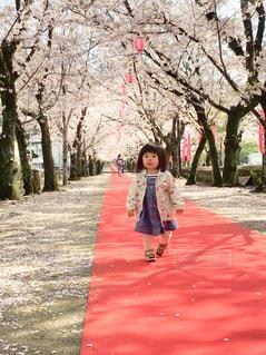 歩道を歩いている小さな女の子の写真・画像素材[3104326]
