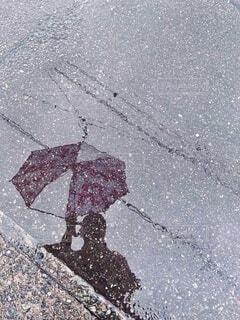 水たまりに映る傘をさした人の写真・画像素材[3679313]
