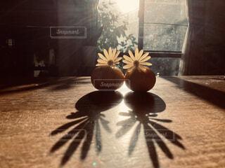 テーブルの上のみかんと花の写真・画像素材[4416219]
