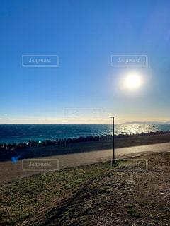 海,空,太陽,ビーチ,砂浜,水面,海岸,光