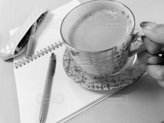 ペン,ノート,モノトーン,カップ,書類,文房具,紙,データ
