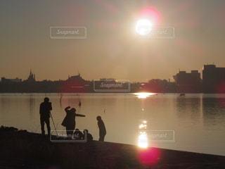 空,太陽,海岸,シルエット,光,日の出,葛西臨海公園