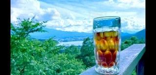 自然,アウトドア,空,コーヒー,富士山,アイスコーヒー,青空,山,氷,ガラス,コップ,休憩,リラックス,グラス,ドリンク,山梨,飲料
