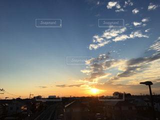 空,夕日,太陽,雲,美しい,夕景