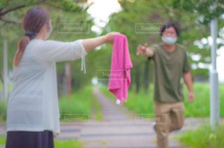 ピンクのタオルの写真・画像素材[3476501]
