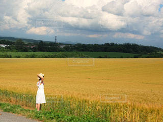 草の覆われてフィールド上に立っている人の写真・画像素材[897902]