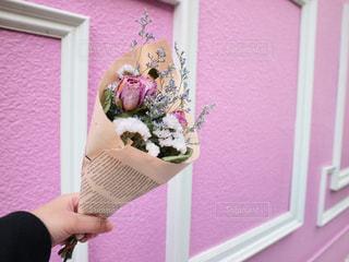 ピンクの壁の前でピンクのドライフラワーをもつ手の写真・画像素材[2914241]