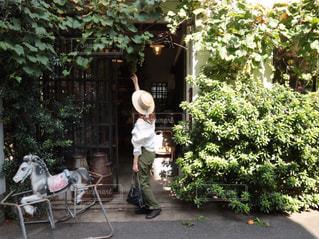 緑のパンツと白のシャツで春コーデの写真・画像素材[3224028]