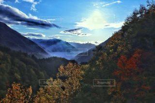自然,風景,空,秋,紅葉,森林,太陽,雲,山,光,樹木,クラウド,山腹,北アルプス大橋