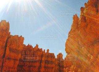 自然,風景,空,屋外,太陽,山,オレンジ,光,谷,峡谷
