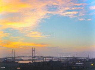 風景,空,建物,橋,屋外,太陽,夕暮れ,光,クラウド