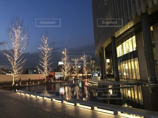空,建物,冬,夜,屋外,大阪,水面,夕方,反射,樹木,イルミネーション,都会,ライトアップ,高層ビル,ツリー,買い物,梅田,関西,ショッピング,グランフロント大阪,シャンパンゴールド