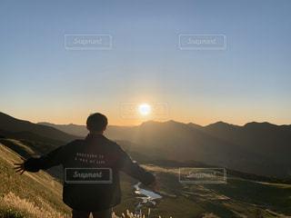男性,自然,空,太陽,山,光,人,高原,曽爾高原