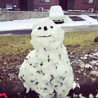 草の中に座っている雪だるまの写真・画像素材[2808921]