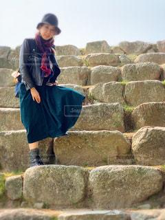 城壁の大きな階段の写真・画像素材[2790944]