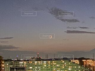 自然,風景,空,夜,屋外,水面,都会,月