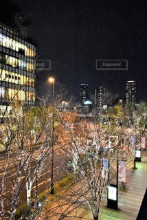 空,夜,夜景,屋外,大阪,道路,イルミネーション,都会,高層ビル,クリスマス,明るい,ダウンタウン,スカイライン,シャンパンゴールド
