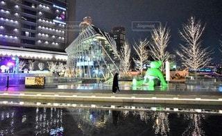女性,1人,建物,夜,大阪,水面,反射,イルミネーション,都会,高層ビル,クリスマス,明るい,シャンパンゴールド