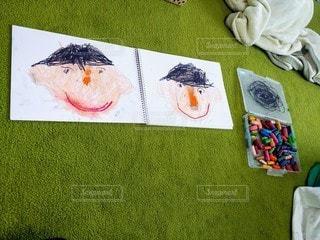 笑顔,クレヨン,宿題,幼稚園,紙,おえかき,スケッチブック,おうち時間