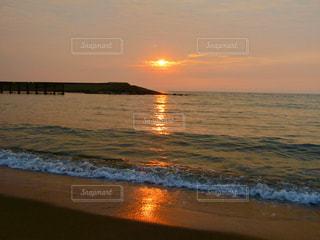 海,空,太陽,夕暮れ,水面,海岸,光,徳光SA