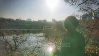 男性,1人,空,屋外,湖,太陽,日差し,光,樹木,都会,日中,温もり