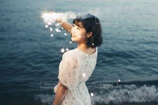 花火と彼女の写真・画像素材[3689835]
